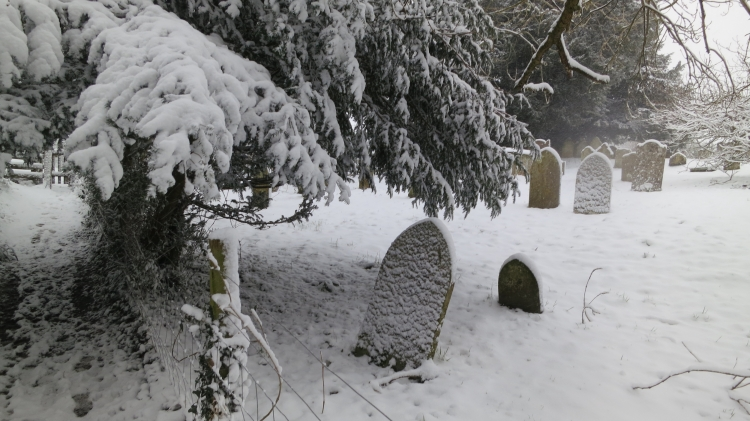 All Saints Minstead Churchyard in snow 1.13