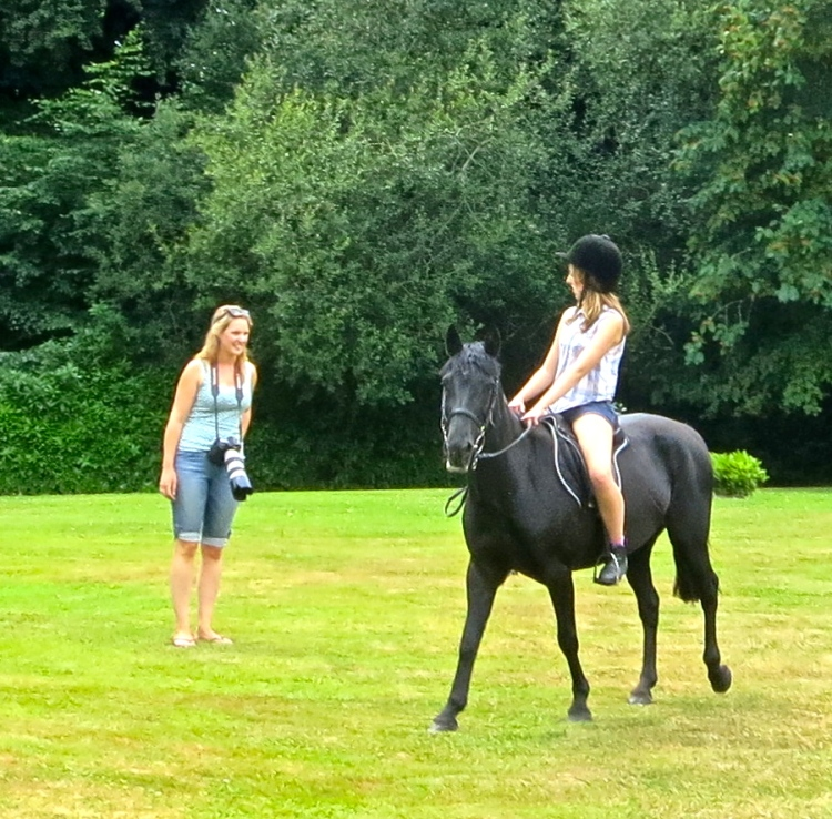 Horseriding on the lawn