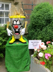 Bin around scarecrow