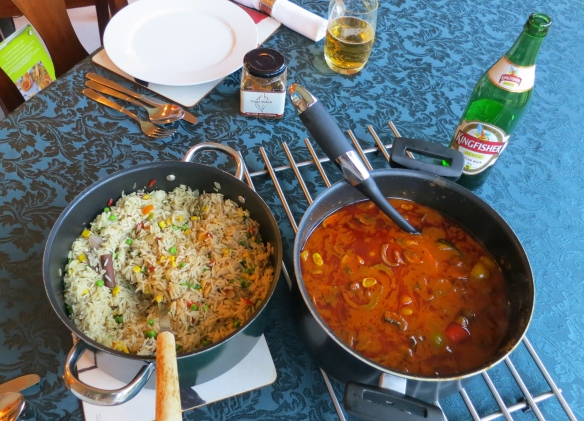 Chicken jalfrezi and pilau rice