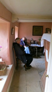 Trish and visitor, Hardy's cottage