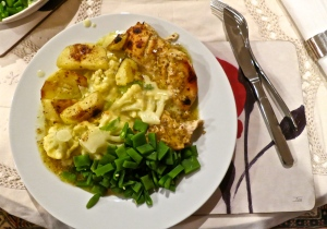 Chicken marinaded in mustard and lemon sauce