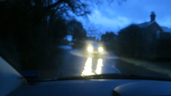 Headlights in floodwater