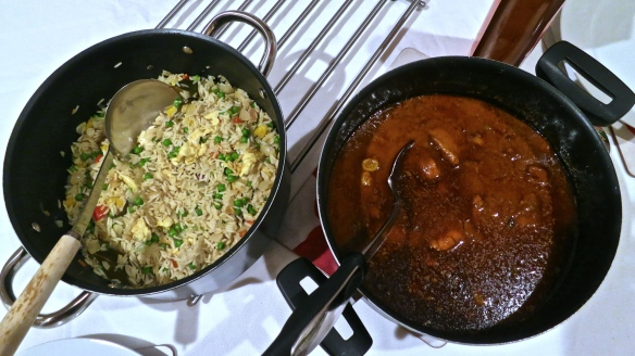 Chicken jalfrezi and special fried rice.