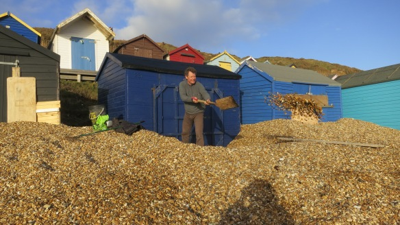 Richard shovelling shingle