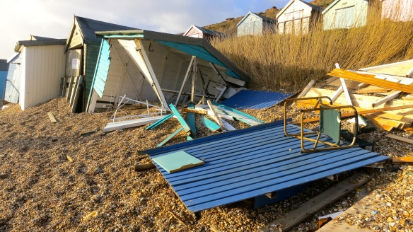 Smashed beach huts