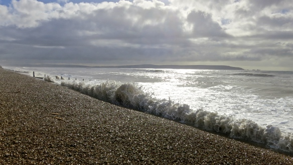 Waves hitting shingle