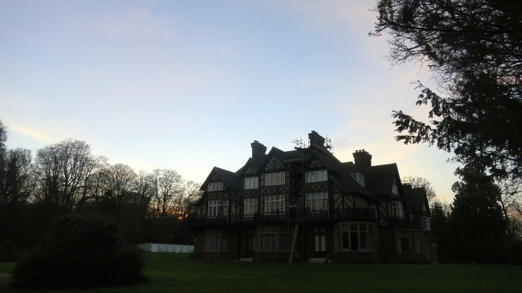 Castle Malwood Lodge at dusk