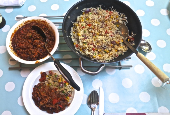 Chilli con carne & vegetable rice