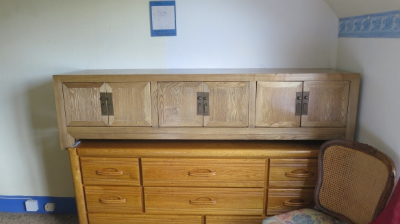 Chinese cabinet on chest of drawers