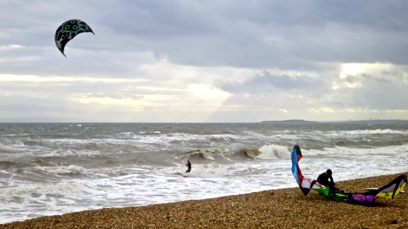 Seascape with kite surfers
