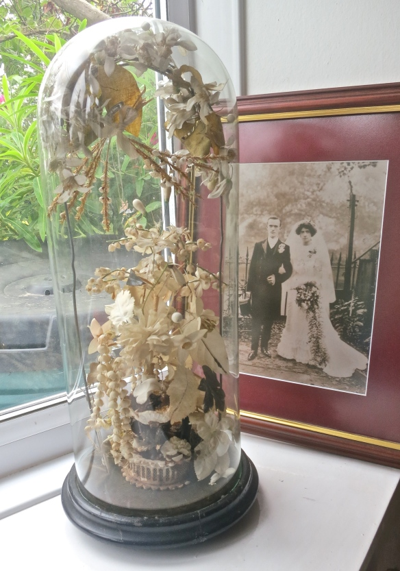 O'Connell granparents, bouquet, and tiara