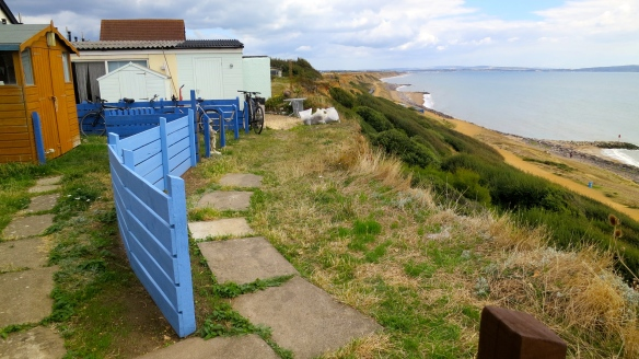 Back gardens on cliff top