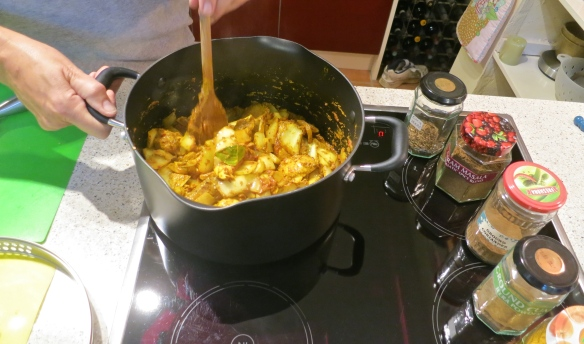 Chicken jalfrezi being cooked