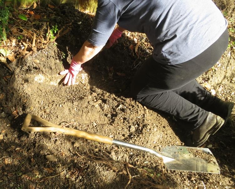 Elizabeth excavating stone