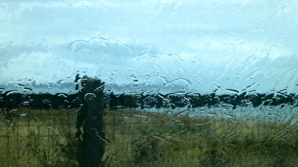 Isle of Wight through wet windscreen
