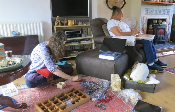 Jackie and Flo sorting jewellery