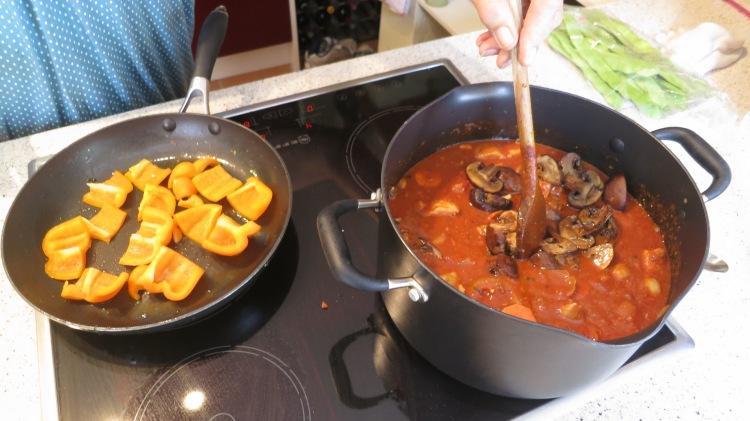 Pork paprika being cooked