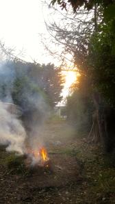 Bonfire and sun