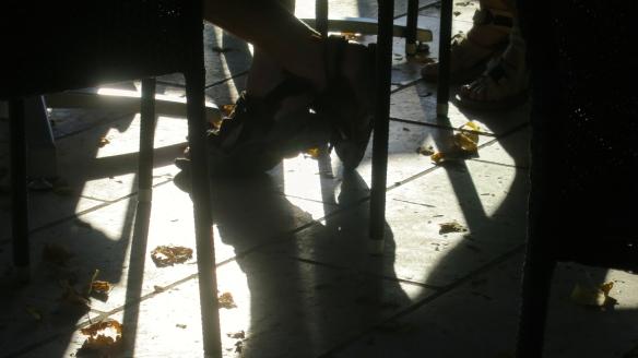 Feet in silhouette
