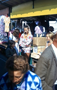 Jackie with Michael, Linda and Joan at market stall 8.72