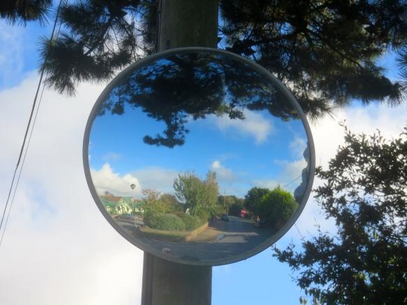 Mirror on post