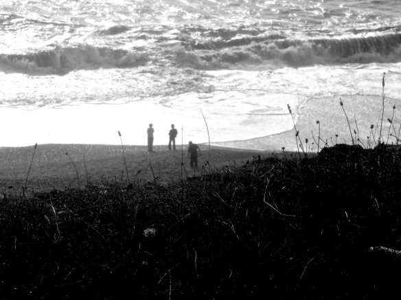 Silhouettes on beach