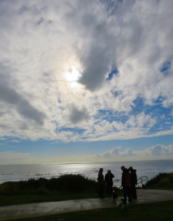 Skyscape with dog walkers