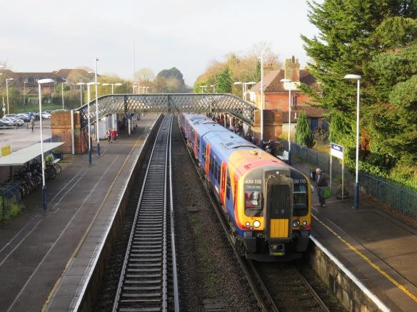 Train in New Milton station