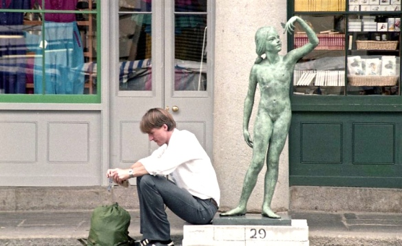Young man and statue 1982