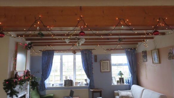 Christmas decorations in sitting room