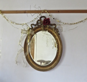 Christmas decorations on mirror