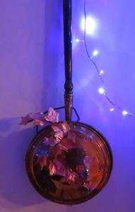 Christmas lights in study warming pan
