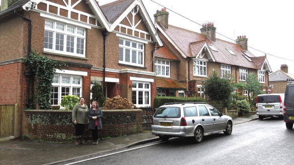 Becky and Tess outside Elm Cottages
