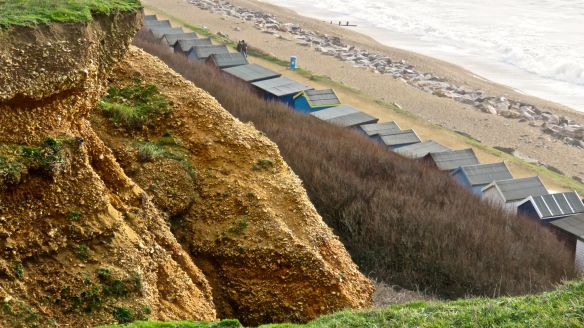 Cliff and beach huts
