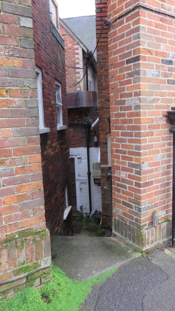 Entrance down steps