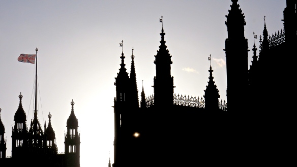 Sun through Houses of Parliament