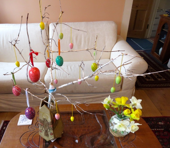 Mouse on Easter decoration