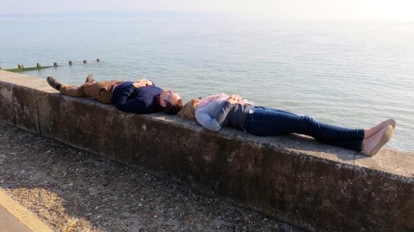 Couple on sea wall
