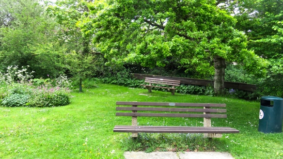 Benches on green