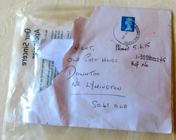 Damaged envelope