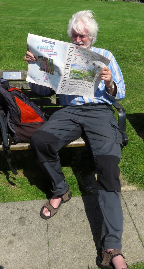 Derrick reading The Independent
