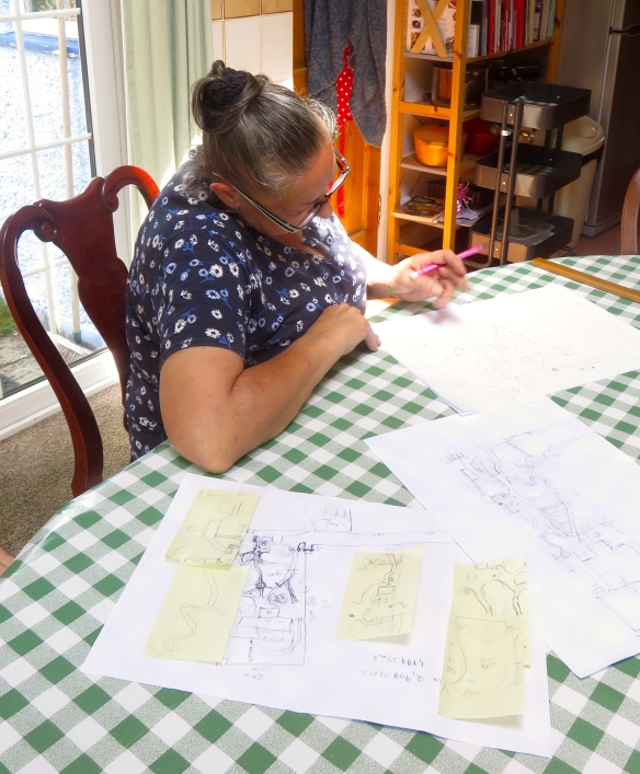Jackie working on garden map