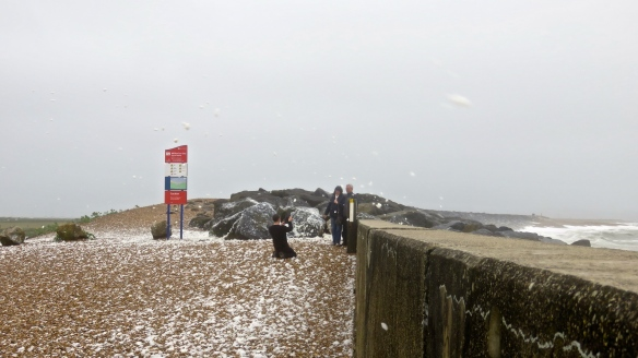 Photographing couple in spume