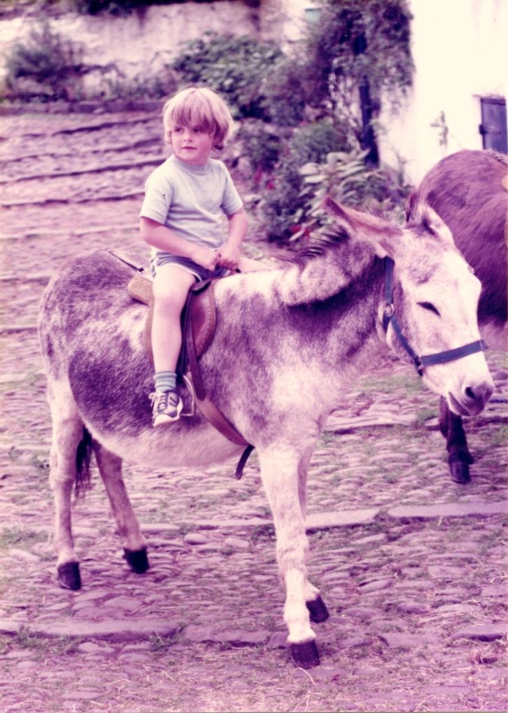 Sam on donkey 1985