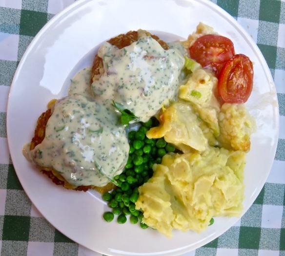 Smoked haddock fishcakes meal on a plate