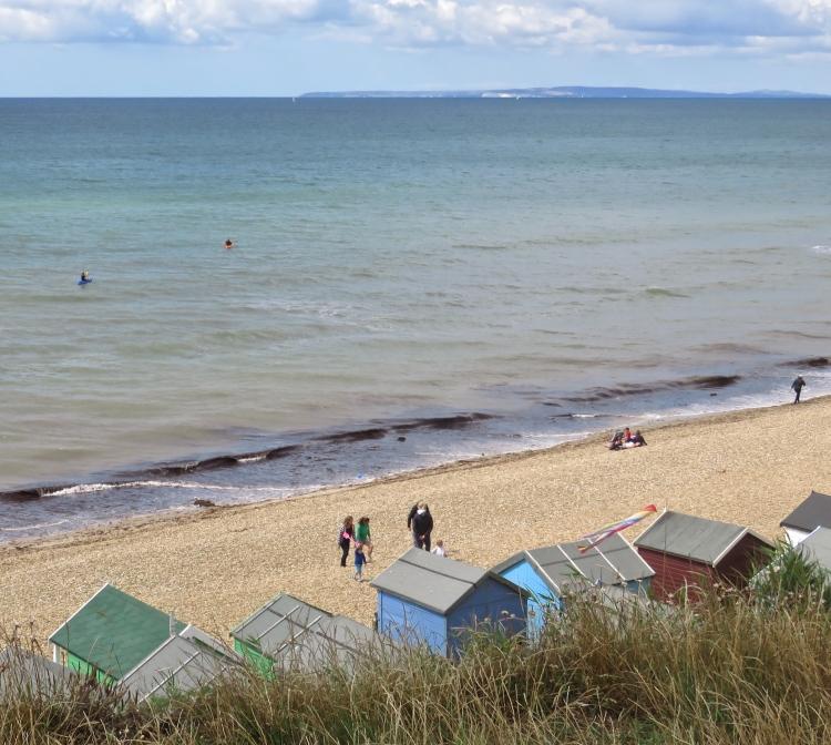 Beach scene with kayaks