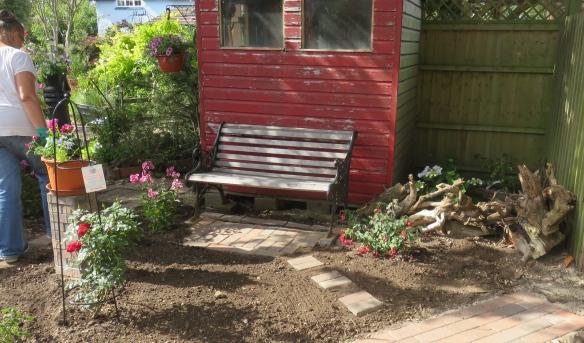 Bench in rose garden