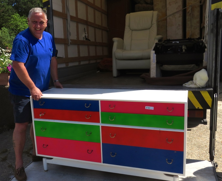 Dave Fergusson delivering chest of drawers