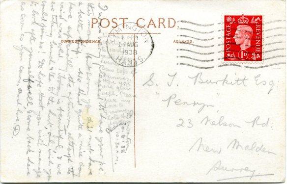 Postcard message 1938